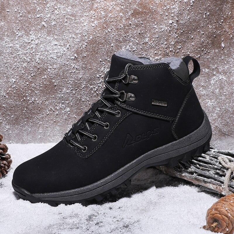 Fhlyiy Leather Men'S Boots Non-Slip Shoes Men Winter Warm Comfortable Men'S Rubber Boots Plush Snow Boots Man Black Brown