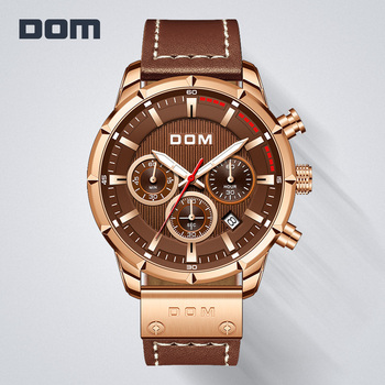 DOM Sapphire Sport Watches for Men Top Brand Luxury Military Leather Wrist Watch Man Clock Chronograph Wristwatch M-1320GL-5M - discount item  50% OFF Men's Watches