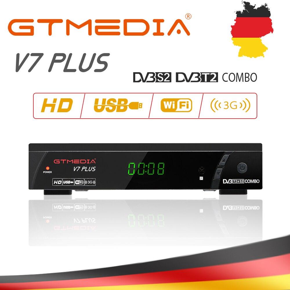 Gtmedia v7 além de tv receptor terrestre DVB-T2/s2 h.265 suporte hdmi wifi conjunto caixa superior com 5 linhas cccam para europa/itália/espanha