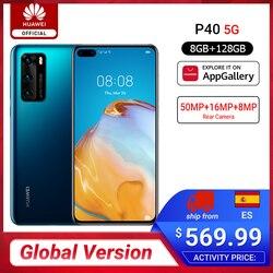Globale Versione Huawei P40 5G Smartphone Kirin 990 8GB 128GB 50MP Ultra Versione della Macchina Fotografica da 6.1 pollici Sovralimentare NFC