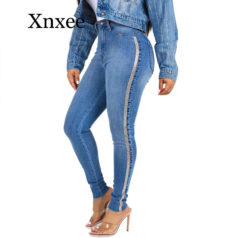Crystal Mid Waist Fashion Side Stripe Skinny Jeans Women Slim Embroidered Gold Sequin High Street Push Up Denim Pants Africa