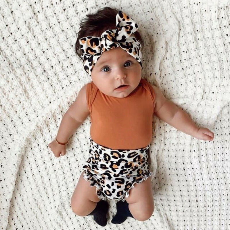 New Born Baby Girl Set Sleeveless Bodysuit Leopard Shorts Headband Infant Newborn Baby Girl Clothes Summer Outfit