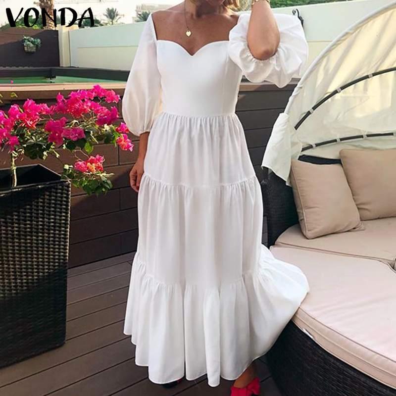 Robe blanche femmes été robe dété 2021 VONDA Sexy 3/4 manches col carré à volants fête Maxi longue robe plage Vestido grande taille