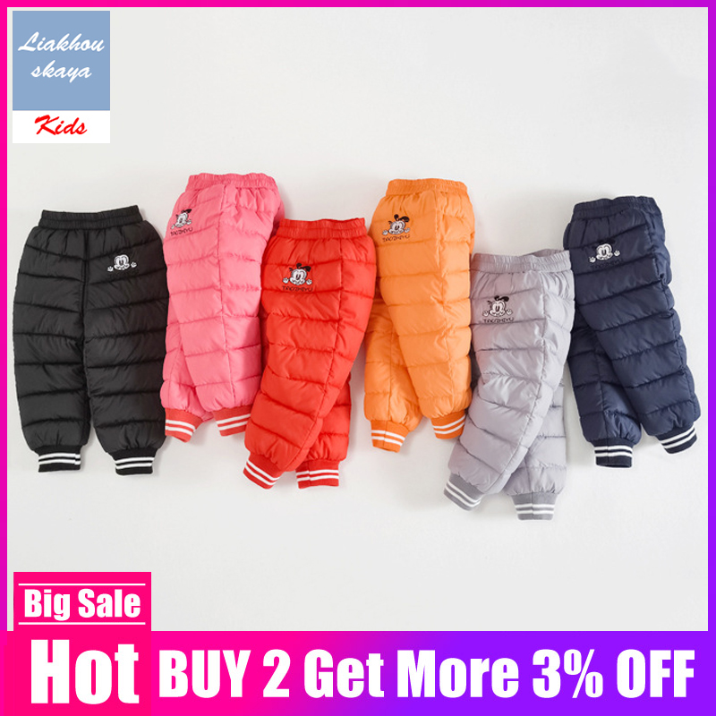 2019 Fashion Cute Boys Winter Pants Kids Warm Legging Baby Boy Children Pants Girls Winter Children Down Warm Trousers Clothes