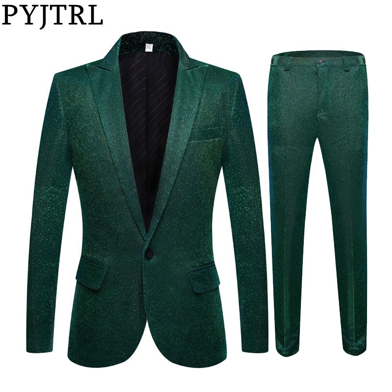 PYJTRL Fashion Shiny Green Blue Purple 2 Pieces Set Wedding Suits For Men Party Prom Tuxedos DJ Singers Costume Homme Chorus
