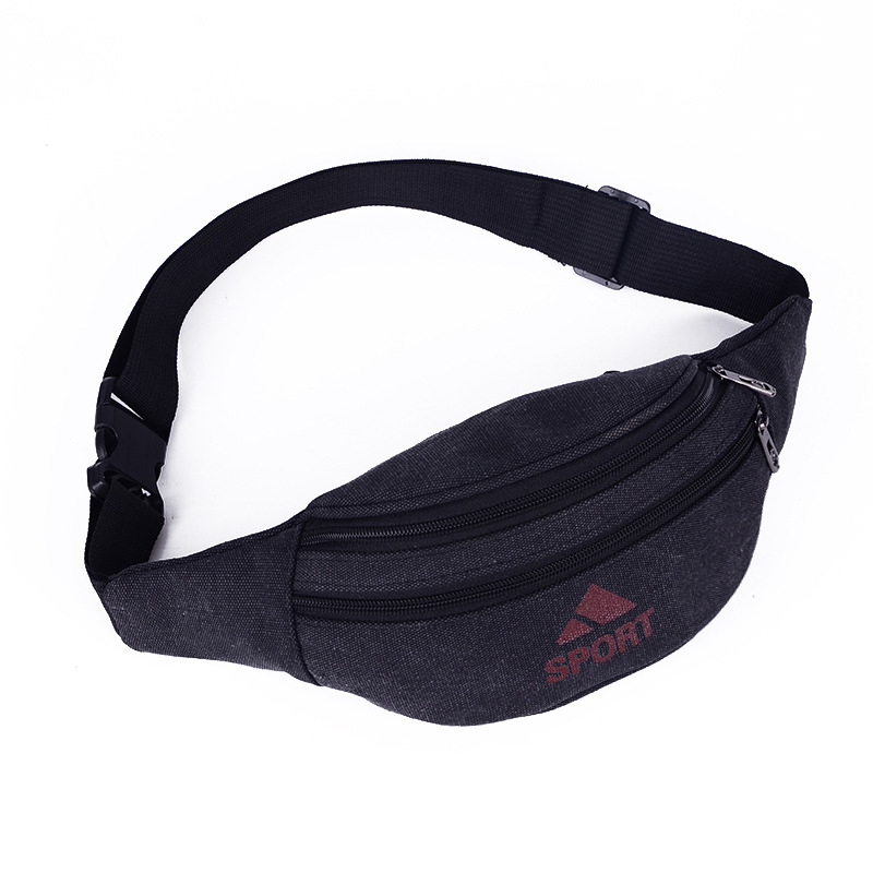 Men's Waist Bag Multi Function Fashion Sports Bag Leisure Canvas Storage Mobile Running Waist Bag