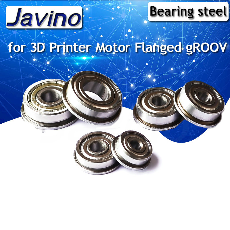 2PCS Flange Ball Bearing 608zz 623zz 624zz 625zz 635zz 626zz 688zz 3D Printers Parts Deep Groove Flanged Pulley Wheel