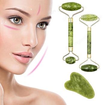 2pcs Face Massager Roller Natural Jade Stone Guasha Board Scraper Set Facial Lift Skin Relaxation Slimming Beauty Neck Thin Tool