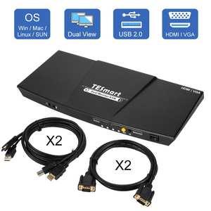 4K HDMI двойной монитор KVM переключатель 4 порта вход (2 HDMI + 2VGA) 2 выхода порта (HDMI) KVM переключатель HDMI Поддержка USB 2,0 4K @ 30 Гц 4 кабеля