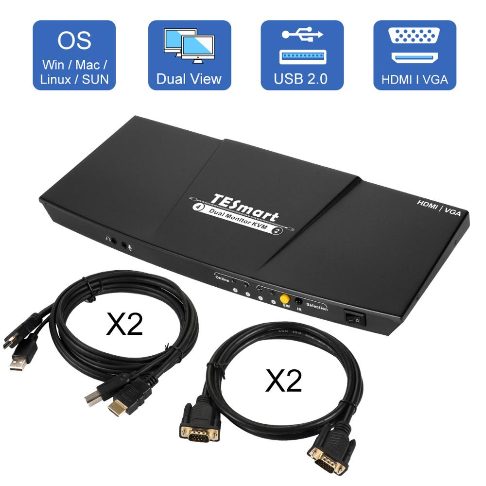 4K HDMI Dual Monitor KVM Switch 4 Port Input (2 +2VGA) 2 Output(HDMI) Support USB 2.0 4K@30Hz Cables