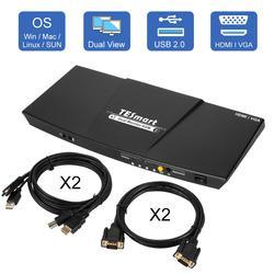 4K HDMI Monitor Dual KVM interruptor 4 puerto de entrada (2 + HDMI + 2VGA) 2 puerto de salida (HDMI) KVM interruptor HDMI USB 2,0 4K @ 30Hz 4 Cables