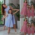 Семейные одинаковые платья для мамы и дочки, летние платья в клетку без рукавов с бантом, сарафан, наряды