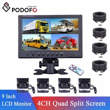 Caravan Lcd-Monitor Parking-Camera Truck Motorhome Quad-Split-Screen Car-Rear-View Camper
