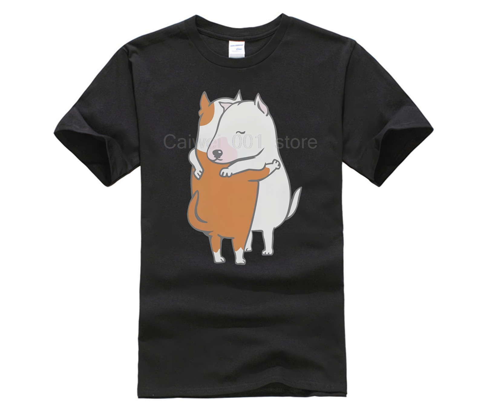 Cotton Sports man's T shirt bull terrier <font><b>hugs</b></font> <font><b>tshirts</b></font> Printed T shirt crew neck short sleeve casual T shirt image