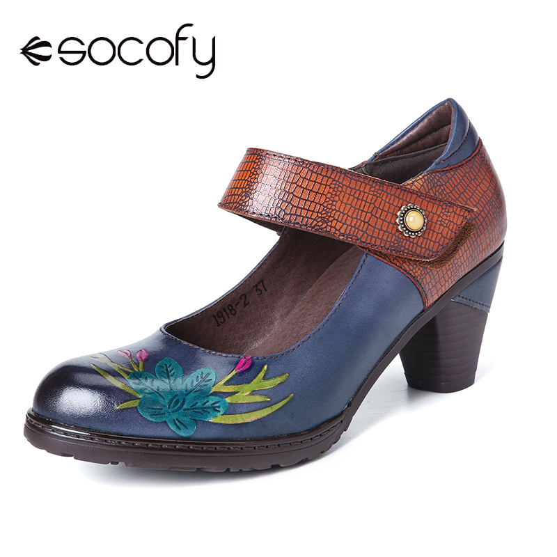 SOCOFY Retro Shallow Mouth Lovely Sunflower Vine Strap High Heel Round Leather Ladies Shoes Women Shoes Botas Mujer 2020 image