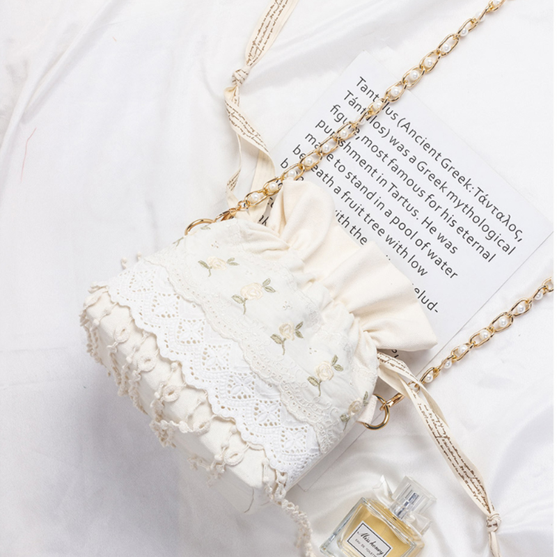 Angelatracy 2020 New Arrival Floral Pearl Women Fresh White Embroidery Lace Chain Storage Bag Summer Crossbody String Bag Bucket