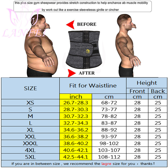 LANFEI Men Waist Trainer Slimming Belt Body Shaper Sweat Sauna Modeling Strap Workout Waist Trimmer Weight Loss Corset Plus Size 3