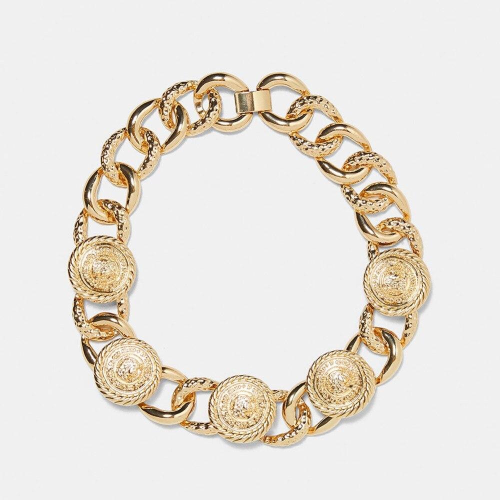 Dvacaman ZA, золотое ожерелье на цепочке, Чокеры для женщин, металлическое круглое звено, массивное ожерелье, s макси панк, модные вечерние ювелирные изделия - Окраска металла: 3