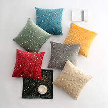 45x45cm Dutch Velvet Stripe Rhinestone Nail Bead Pillow Case Handmade Pearl Sofa Cushion Cover Home Decor подушка dutch decor