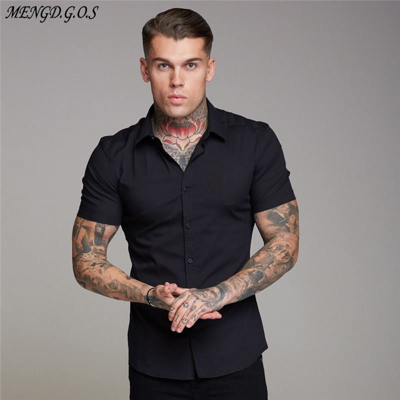 Streetwear Summer Men's Shirt 2019 Men's Fashion Casual Short Sleeve Shirt Slim Men's Social Business Shirt Brand Men's Clothing