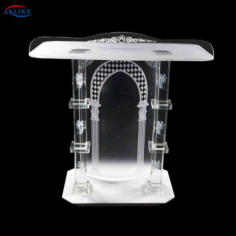 Acrylic Church-Specific Church Pulpit With Exquisite And Transparent AKLIKE Crystal Columns Pulpit For  School Or Church