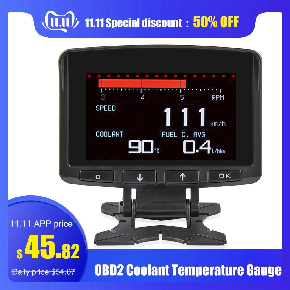 A208 OBD2 Coolant Temperature Gauge Diagnostic Tool Thermometer Digital Clock DC12-24V Automobile Clock Voltmeter Voltage Tester