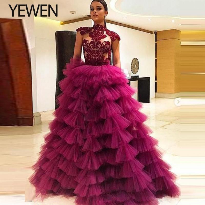 Chic Prom Dresses Transparent robe de soiree 2020 Long Evening Dress Tiered Modest Appliques Evening Dresses Formal Gown YeWenEvening Dresses   -
