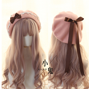 Image 2 - יפני Kawaii כומתה כובע לוליטה בגיל ההתבגרות לב מתוק צמר בעבודת יד חמוד תחרה Bowknot חם סתיו חורף צייר כובע כיסוי ראש