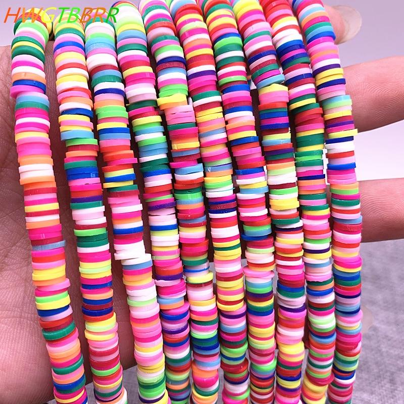 6 мм, плоская круглая цветная полимерная глина, фотоэлемент для изготовления браслетов для девочек, аксессуары для ожерелий и браслетов сво...