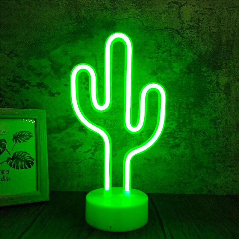 Кактус Форма светодиодная неоновая вывеска для организаций и магазинов светильник на Рождество вечерние романтической свадебной детской ...