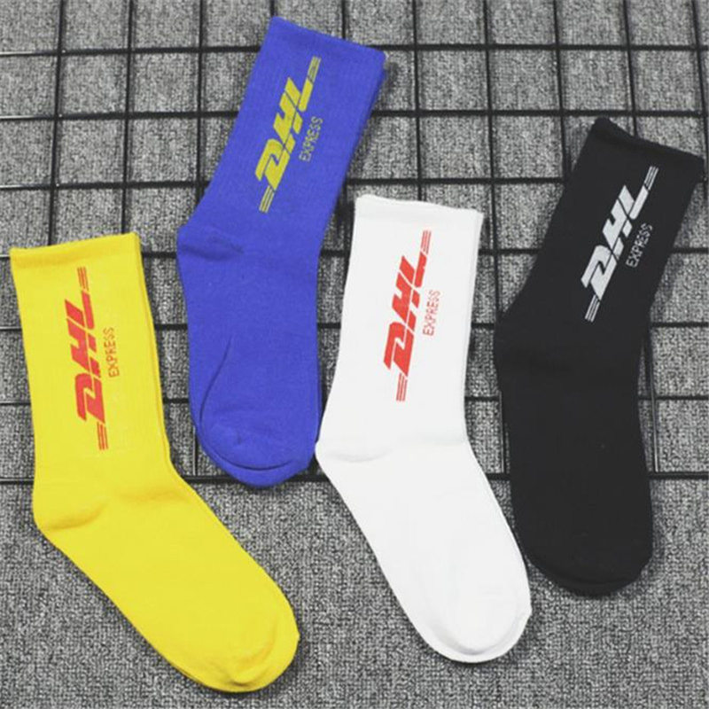 Autumn Winter 3pairs=6pcs Street Wild Trend Socks Men DHL Letter Print Socks Casual Sports Cotton Socks Unisex Dropshipping