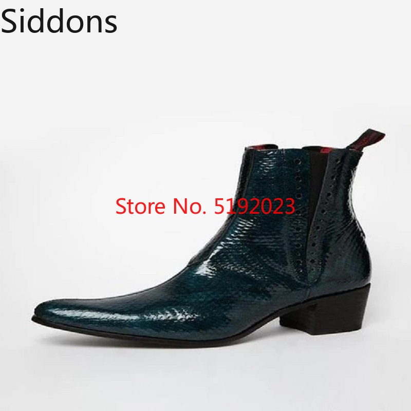 Winter Fashion Men's Lake Blue Snake PU Leather Chelsea Boots Pointed Toe Ankle Boots Mens Male Casual Zapatos De Hombre D185