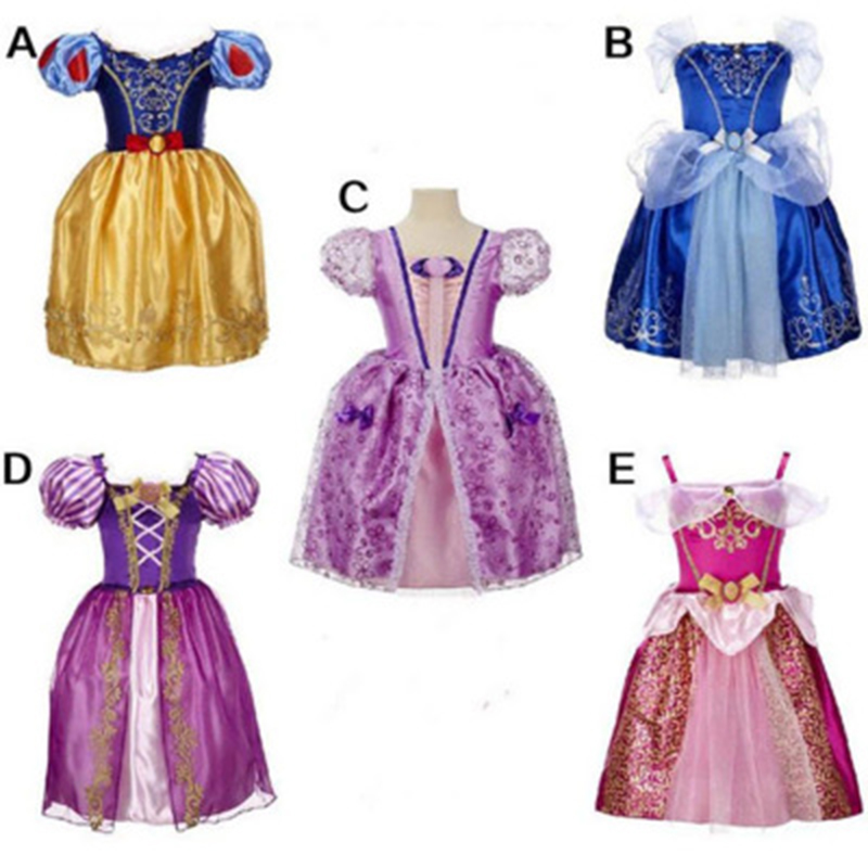 Girl Princess Dresses Sleeping Beauty Jasmine Rapunzel Belle Ariel Costume Elsa Anna Sofia Children Dress Party Clothes