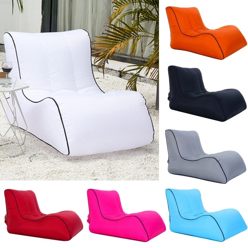Manufacturer Direct Sale Air Sofa Outdoor Portable Single Inflatable Bed Moisture-proof Water-proof Inflatable Lazy Sofa Bed