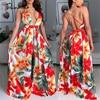 Tobinoone Backless Dress Spaghetti Strap Vintage Dress Women V Neck Floral Print Sleeveless Maxi Dress Streetwear Vestidos 1