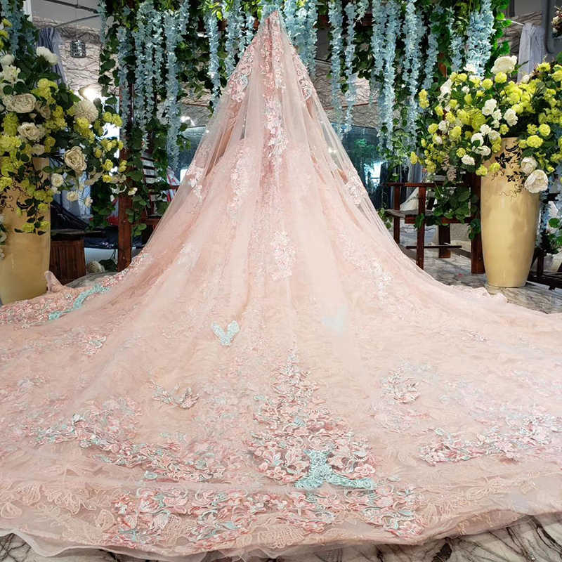 HTL828 ורוד שמלת ערב ארוך אשליה o-צוואר ארוך שרוול מוסלמי שמלת חתונה שמלת תחרה אפליקציות robe musulmane soiree 2020