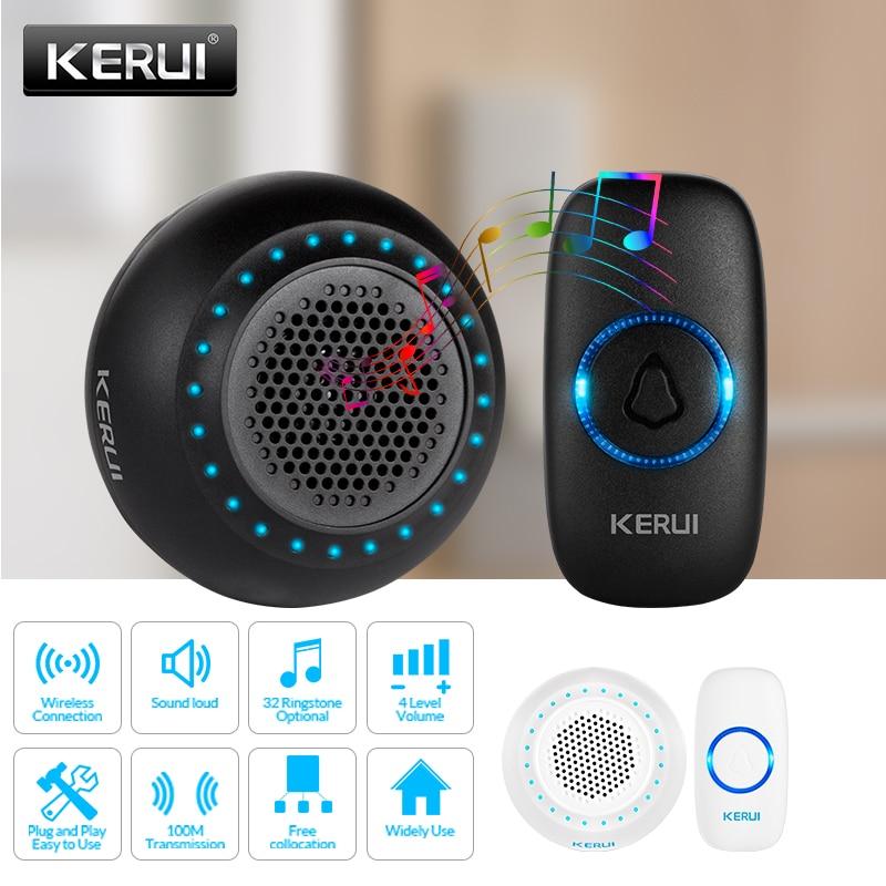 KERUI M523 Wireless Smart Doorbell Kit Home Security Waterproof Door Button Colorful LED Housed Chimes Doorbell 433MHZ Button