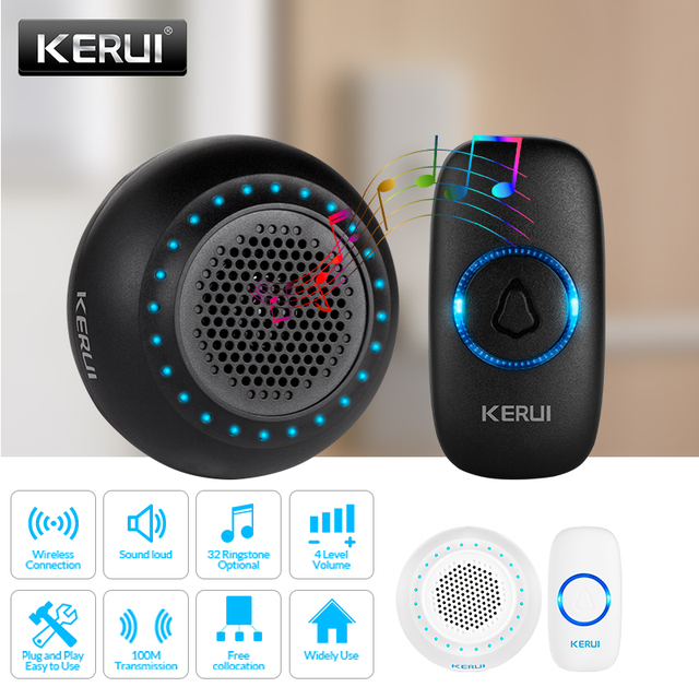 KERUI M523 אלחוטי חכם פעמון ערכת אבטחת בית עמיד למים דלת כפתור צבעוני LED שוכנו פעמוני פעמון 433MHZ כפתור