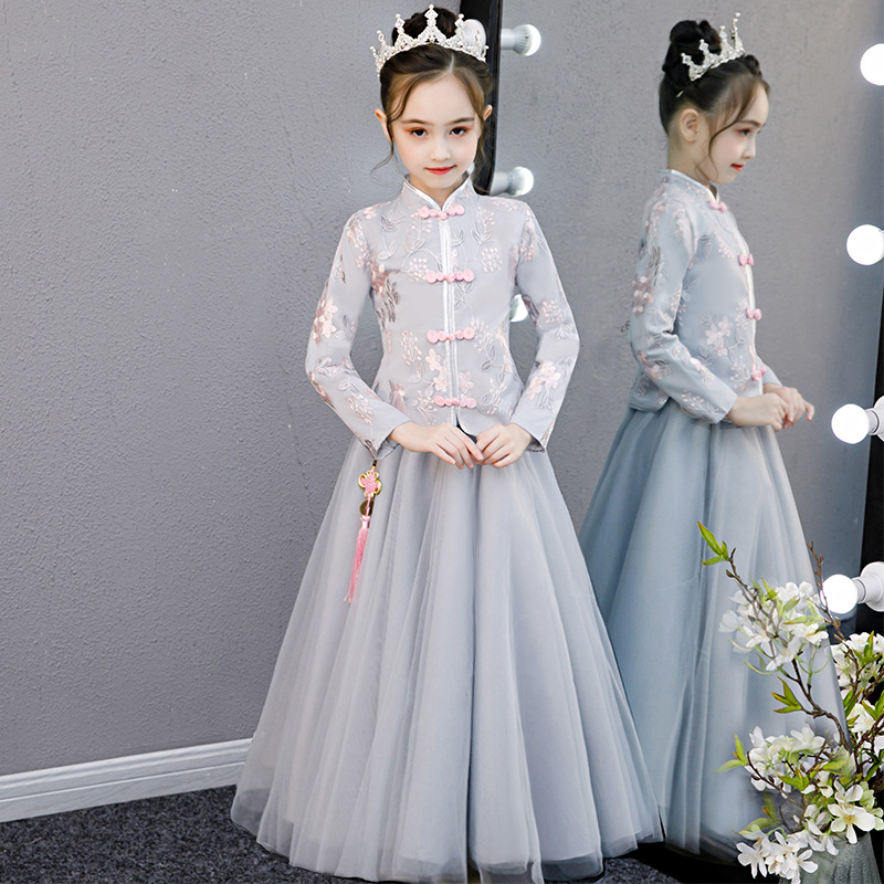 Flower Child Princess Party Performing Lace Embroidery Dresses For Birthday Ball Girl's First Sequin Dresses For Eucharist Party
