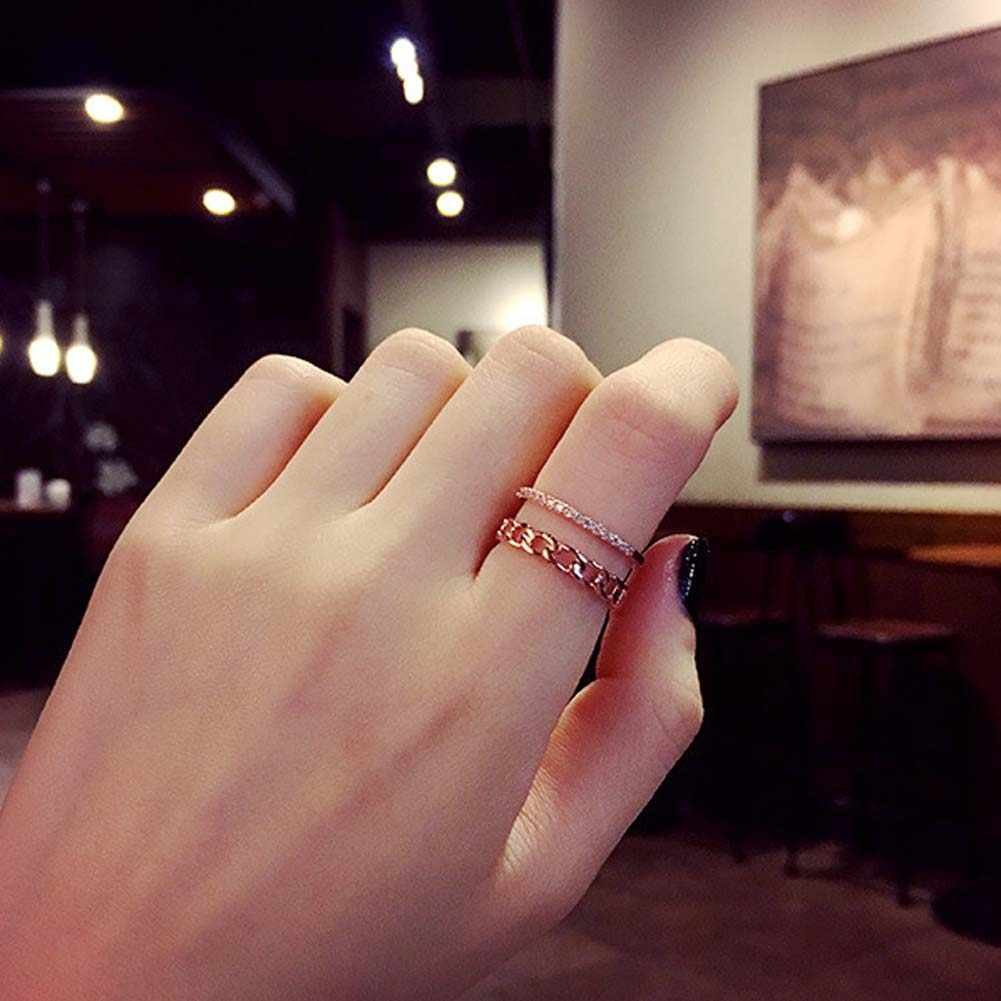 Fashion Vintage Chain Double layer Ring Gold Silver color Simple Crystal  Pave Setting Decorate Open Ring Women Jewelry