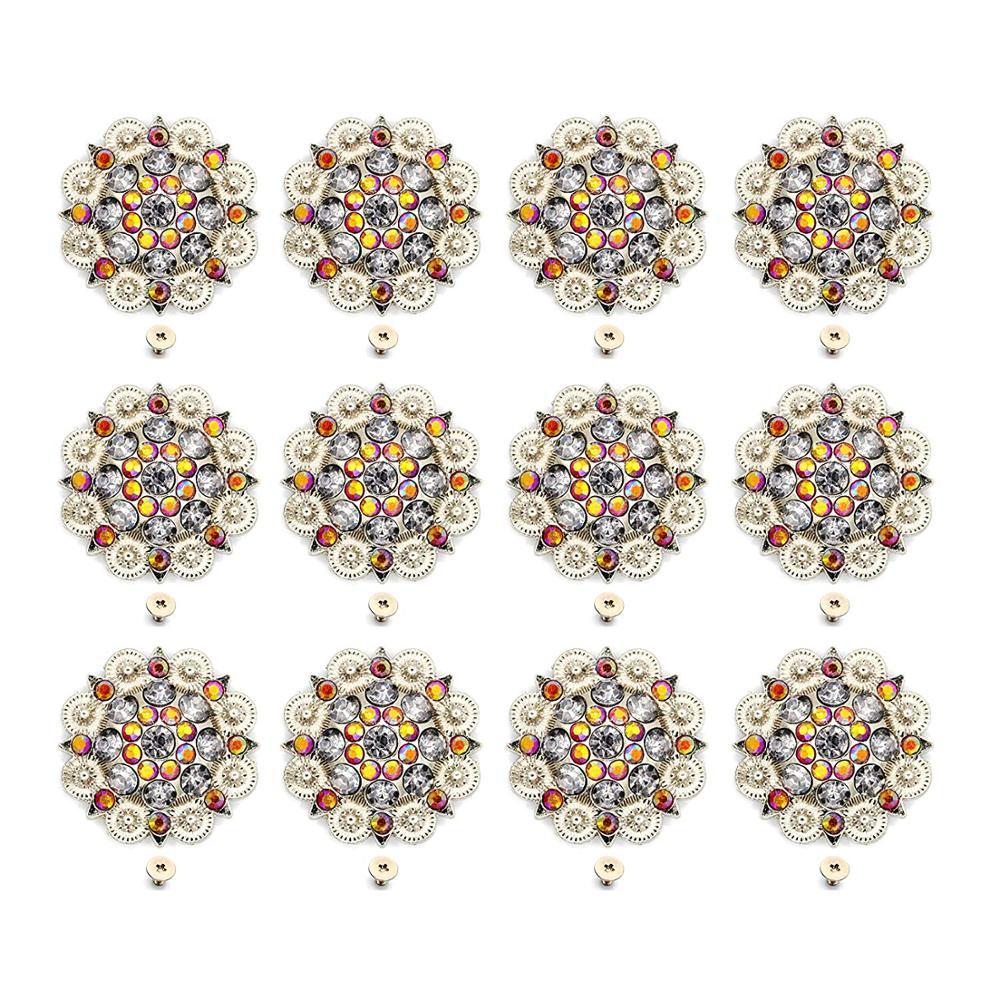 Orange Color Diameter 3.7CM Metal Flower Conchos White Rhinestone Decoration Belt Accessories Accessories