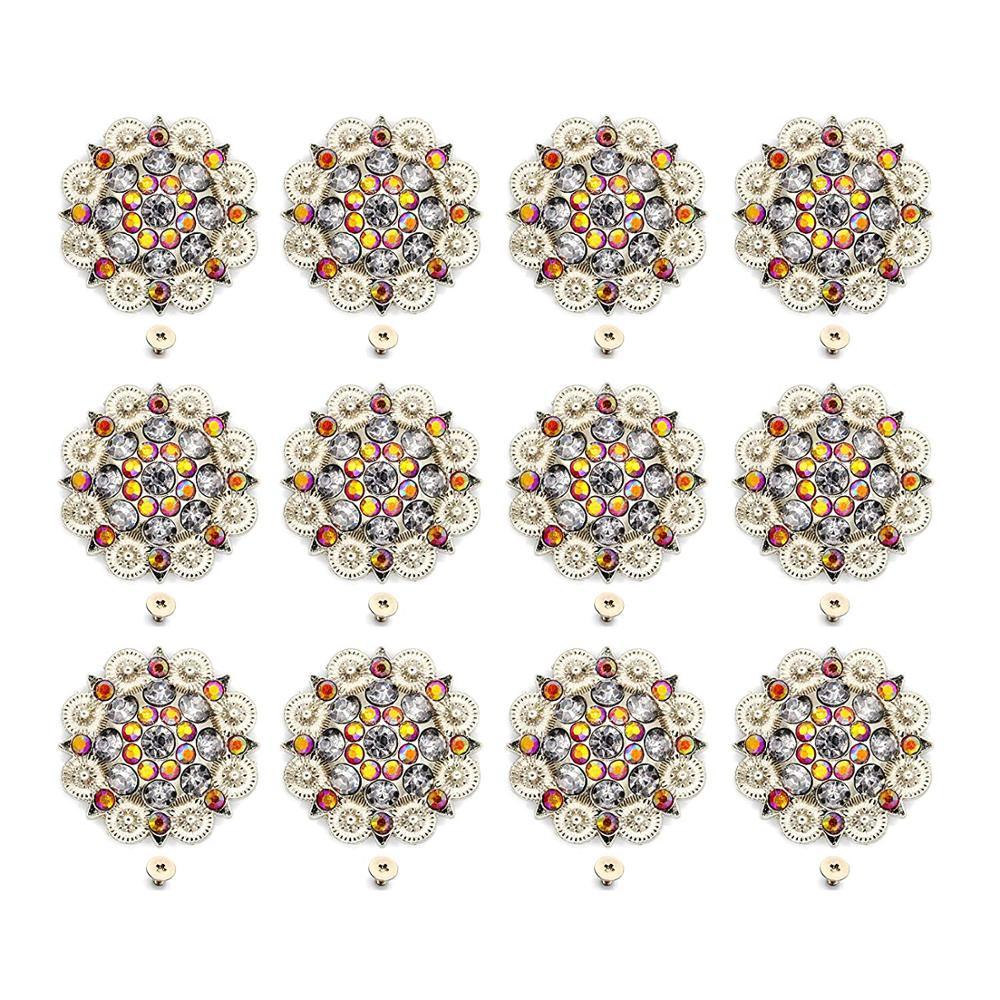 Orange Color Diameter 3.7CM Metal Flower Conchos White Rhinestone Decoration Belt Accessories Accessories