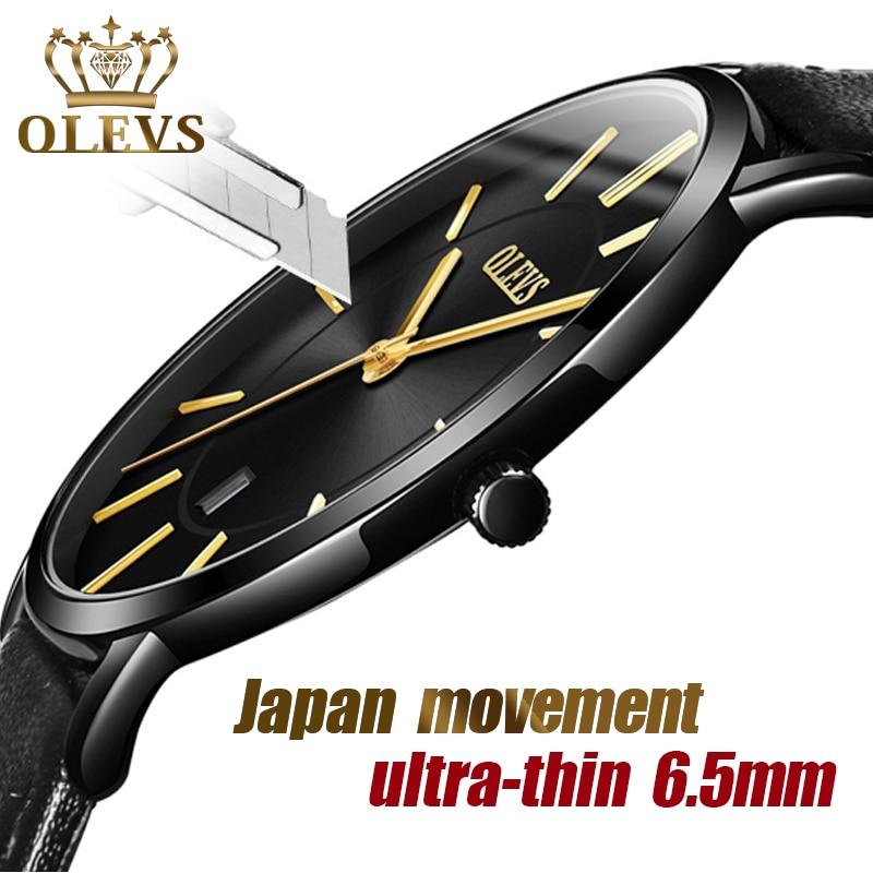 Мужские наручные часы OLEVS, ультра тонкие, 6,5 мм, минималистичные, для деловых встреч, водонепроницаемые, для свиданий, кожаный ремешок, тонкие часы для мужчин|Кварцевые часы|   | АлиЭкспресс