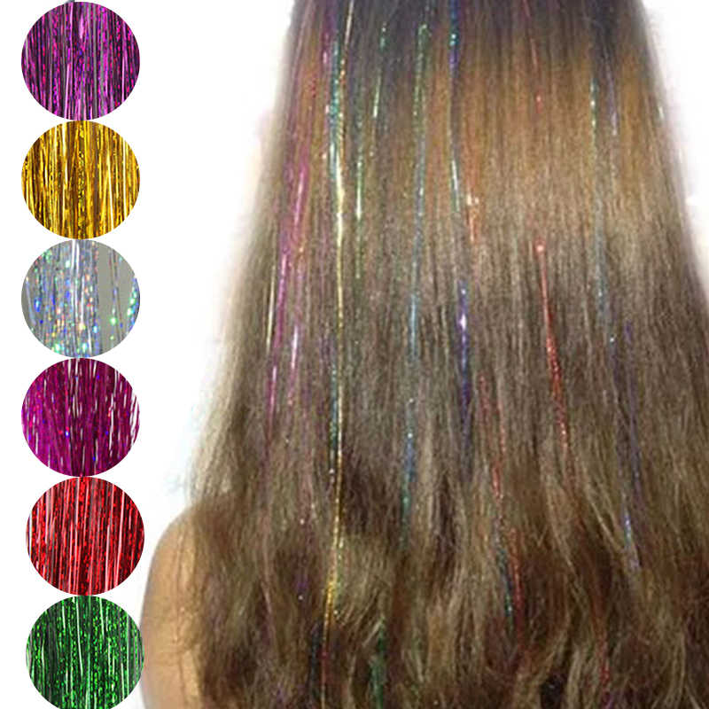 8 Colors False Hairline Hair Tinsel Sparkle Glitter Extensions Highlights False Hair Strands Party Stage Performance Accessories