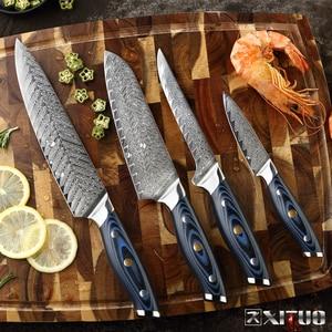 Image 5 - Xituo damasco chef faca profissional japão sankotu cutelo desossamento gyuto faca de cozinha ferramenta de cozinha requintado ameixa rebite lidar com