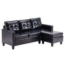 Pu Комбинации диван удобные l Форма черный 194x126x89 см Кабриолет