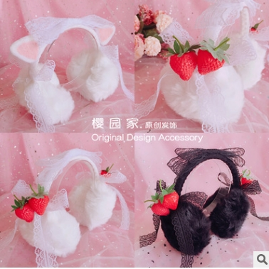 Princess Sweet Lolita Earmuff Custom Warm Winter Lolita Plush Earmuffs Strawberry Cat Ears Lovely Earmuffs Beautiful HZQX004