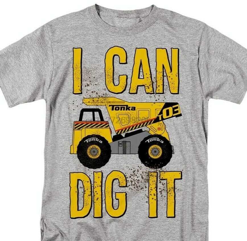 Caminhões tonka cavar t camisa retro clássico 70 s 80 s brinquedos gráfico impresso cinza t