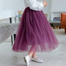 Girls TuTu Long Skirts Fluffy Kids Ball Gown Soft Pettiskirts Kids Tulle Skirt Toddler Girl Princess Dance Party Skirt