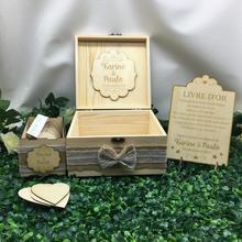 Personalizado vintage rústico madera de boda invitado libro alternativa-caja de deseos de cumpleaños bebé ducha drop top caja de libro de visitas